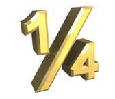 1/4 one quarter in gold - 3D — Stock Photo