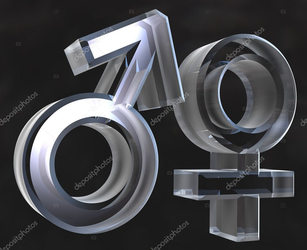 Male and female sex symbols - 3D made — Stock Photo #3163627