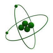 3d helium-atom im grünen gras — Stockfoto