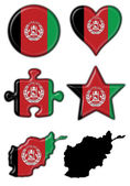 Afghanistan button flag round shape set — Stock Photo