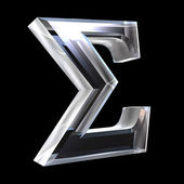 Sigma symbol in glass (3d) — Stock Photo