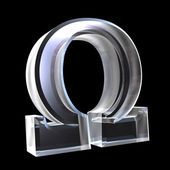 Omega symbol in glass (3d) — Stock Photo
