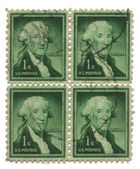 Four old postage stamps from USA one cent — Stock Photo