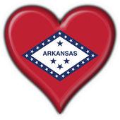 Arkansas (USA State) button flag heart shape — Stock Photo