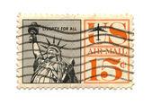 Stary znaczek z liberty usa 15 procent — Zdjęcie stockowe
