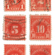 Old postage stamps from USA - Stock Photo