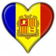 Andorra button flag heart shape - Stock Photo