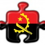 Постер, плакат: Angola button flag puzzle shape