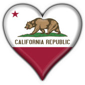 California (USA State) button flag heart shape — Stock fotografie
