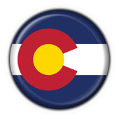 Colorado (USA State) button flag round shape — 图库照片
