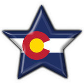 Colorado (USA State) button flag star shape — Zdjęcie stockowe