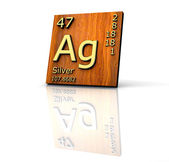 Silver form Periodic Table of Elements - wood board — Stock Photo