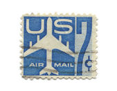 Old postage stamps from USA seven cent — Stock Photo