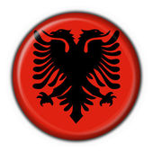 Albanian button flag round shape — Foto Stock