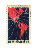 Old postage stamp from USA with america — Stock Photo