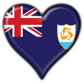 Anguilla button flag heart shape — Stock Photo