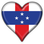 Netherlands Antilles button flag heart shape — Stock Photo