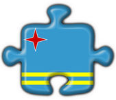 Aruba button flag puzzle shape — Stock Photo