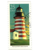 Old postage stamp from USA with Lighthouse — Stock Photo
