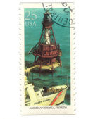 Old postage stamp from USA with Lighthouses — Stock Photo
