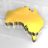 3d golden map of australia — Stock Photo