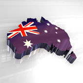 3d flag map of australia — Stock Photo