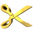 Royalty-Free Stock Photo: Scissor in gold - 3d