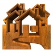 House Icon in wood - 3d — Stock Photo #3398804