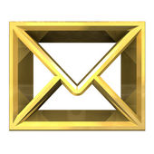 Envelope email symbol in gold (3d) — Stock Photo