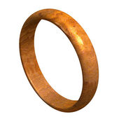 Wedding ring in wood (3D) — Stock Photo