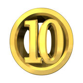 3d number 10 in gold — Stock Photo