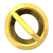 Forbidden symbol in gold (3d) — Stock Photo