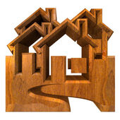 House Icon in wood - 3d — Stock Photo