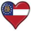 Georgia (USA State) button flag heart shape - Stockfoto