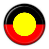 Australian Aboriginal button flag round shape — Stock Photo