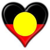 Australian Aboriginal button flag heart shape — Stock Photo