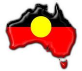 Australian Aboriginal button flag map shape — Stock Photo
