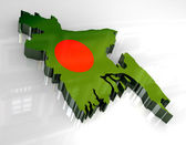 3d flag map of bangladesh — Stock Photo