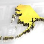 3D golden karta og alaska — Stockfoto