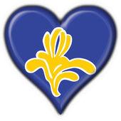 Flag of Brussels (Belgium) heart shape — Foto Stock