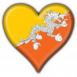 Bhutan button flag heart shape — Stock Photo