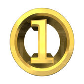 3d number 1 in gold — Stock Photo