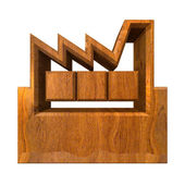 Manufacturer Building Icon on a White Background - 3d in wood — Stock Photo
