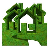 House Icon in grass - 3d — Stock Photo