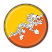 Flaga bhutanu przycisk okrągły kształt — Zdjęcie stockowe