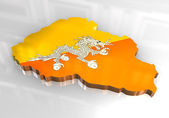 3d flag map of bhutan — Stock Photo