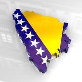 3d flag map of Bosnia — Stock Photo