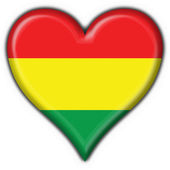 Bolivian button flag heart shape — Stock Photo