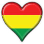 Flaga boliwii przycisk kształt serca — Zdjęcie stockowe