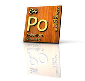 Polonium form Periodic Table of Elements - wood board — Stock Photo